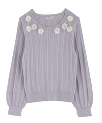 Knit with many flower motifs(Lavender-Free)