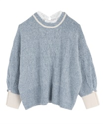 Layered style knit pullover(Blue-Free)
