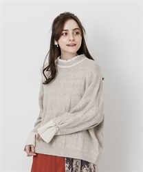 Layered style knit pullover(Beige-Free)