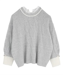 Layered style knit pullover(Grey-Free)