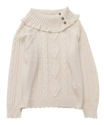 Button with Turtle knit pullover(Ecru-Free)