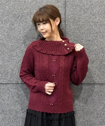 Button with Turtle knit pullover(Wine-Free)