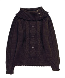 Button with Turtle knit pullover(Dark brown-Free)