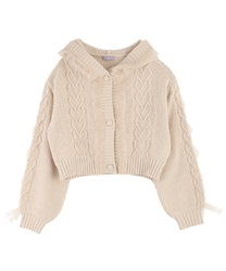 Knit Cardigan with Frill(Beige-Free)