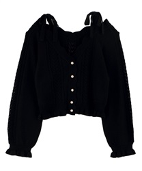 Knit cardigan_MR161X26P(Black-Free)