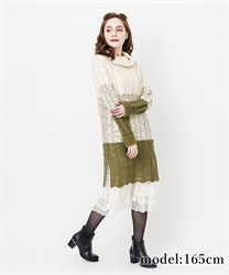 【10%OFF】Gradation knit one-piece(Green-Free)