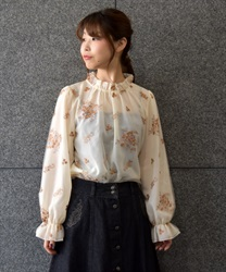 Embroidered tulle blouse(Ecru-Free)