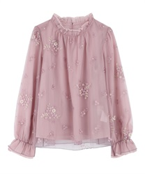 Embroidered tulle blouse(Pale pink-Free)