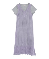 Crochet Knit Dress(Purple-Free)