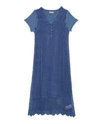 Crochet Knit Dress(Blue-Free)