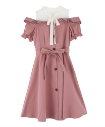 Trench dress with open shoulders(DarkPink-Free)