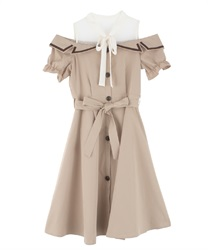 Trench dress with open shoulders(Beige-Free)