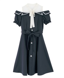 Trench dress with open shoulders(Navy-Free)