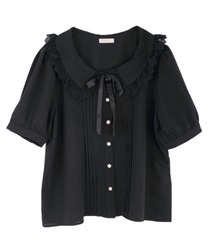 Pin tuck design blouse(Black-Free)