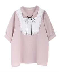 Choker design short sleeve blouse(Pale pink-Free)