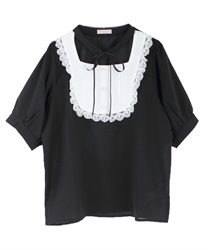 Choker design short sleeve blouse(Black-Free)