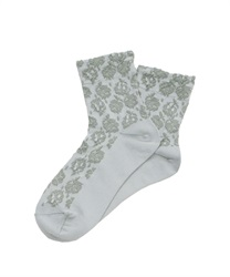 Flower jacquard socks(Green-M)