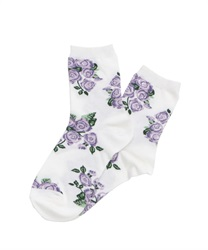 Rose Bouquet pattern socks(Purple-M)