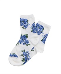 Rose Bouquet pattern socks(Blue-M)