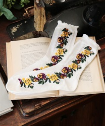 Side flower pattern socks(White-M)