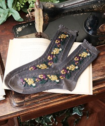 Side flower pattern socks(Grey-M)