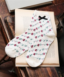 Roses stripe pattern socks(White-M)