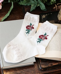 Roses& lace pattern socks(White-M)