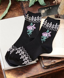 Roses& lace pattern socks(Black-M)