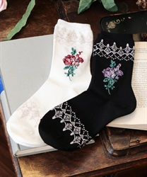 Roses& lace pattern socks