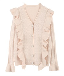 Openwork Knit Cardigan with Frill and Jeweled Button(Ecru-Free)