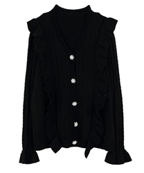 Openwork Knit Cardigan with Frill and Jeweled Button(Black-Free)