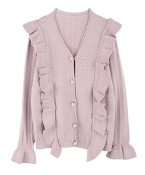 Openwork Knit Cardigan with Frill and Jeweled Button