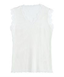 Back lace tank t(White-Free)