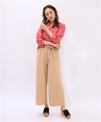 Waist ribbon wide pants