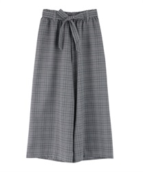 Plaid wide pants(Grey-Free)