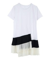Pleated T-shirt Dress(White-Free)