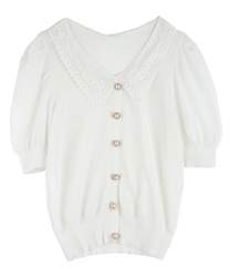 Lace Collar Knit PO(White-Free)