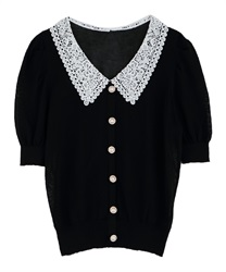 Lace Collar Knit PO(Black-Free)