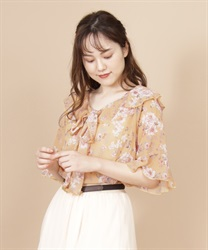 Flower Bow Tie Blouse(Yellow-Free)