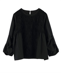 Front lace blouse(Black-Free)