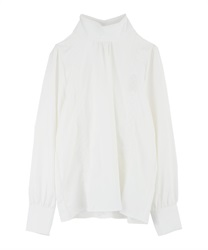 Vertical lace stand collar blouse(White-Free)