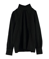 Vertical lace stand collar blouse(Black-Free)