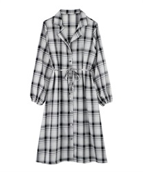 Plaid shirt dress(Ecru-Free)