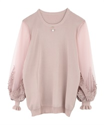 Sleeve tulle knit pullover(Pale pink-Free)