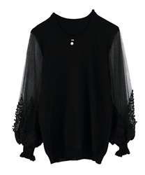 Sleeve tulle knit pullover(Black-Free)