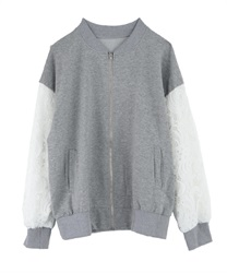 Blouson with sleeve lace(Grey-Free)