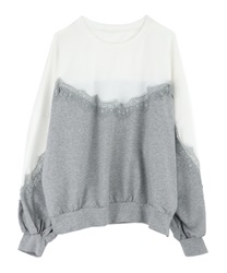 Switching lace pullover(Grey-Free)