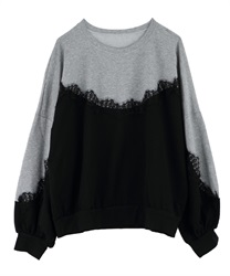 Switching lace pullover(Black-Free)