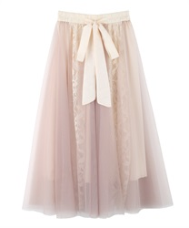Flower lace and tulle skirt(Beige-Free)
