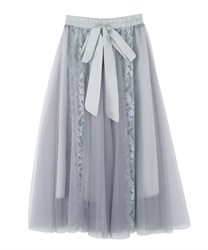 Flower lace and tulle skirt(Grey-Free)